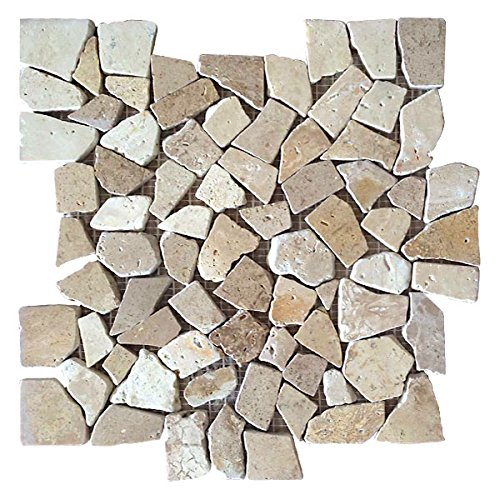 Interlocking Traventine Mosaic Floor Tiles (10-Sheets) Kitchen, Bathroom, and Patio Flooring | Indoor and Outdoor Use | Natural Auburn Tan/Cream Stones | Quick and Easy Grout Installation