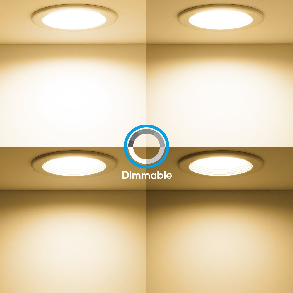 """Slim Remodel LED Downlight with Reflector trim Frosted Glass Lens Ceiling Light 6000K Daylight TORCHSTAR Y00K1BL0JS 4/"""" Dimmable LED Retrofit Recessed Light 800lm 12W 90W Halogen Equiv."""