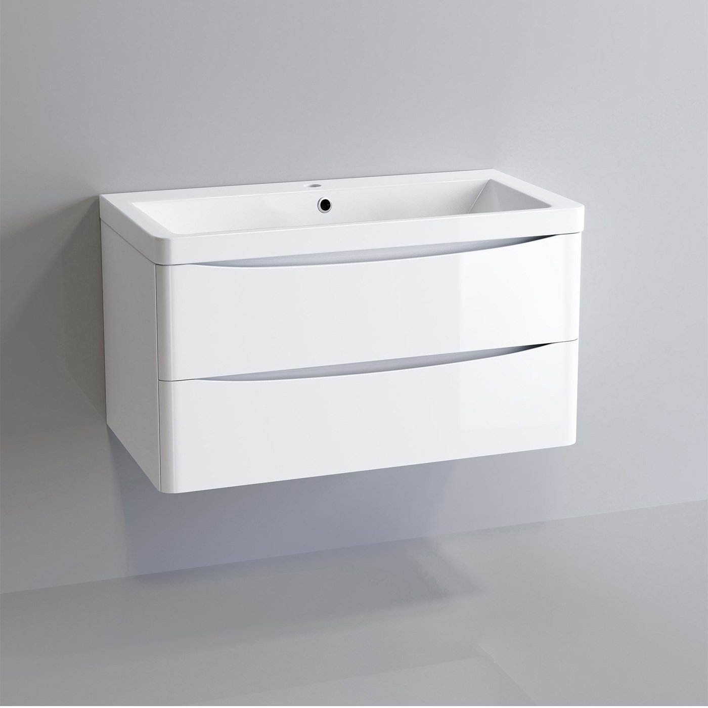 800mm Modern White Vanity Unit Ceramic Sink Wall Hung Bathroom