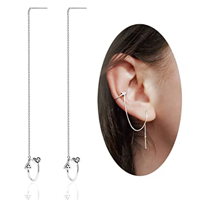 6a3678b1a Image Unavailable. Image not available for. Color: OwMell 925 Sterling  Silver Heart Cuff Chain Earrings Wrap Tassel Earrings for Women Threader  Earrings