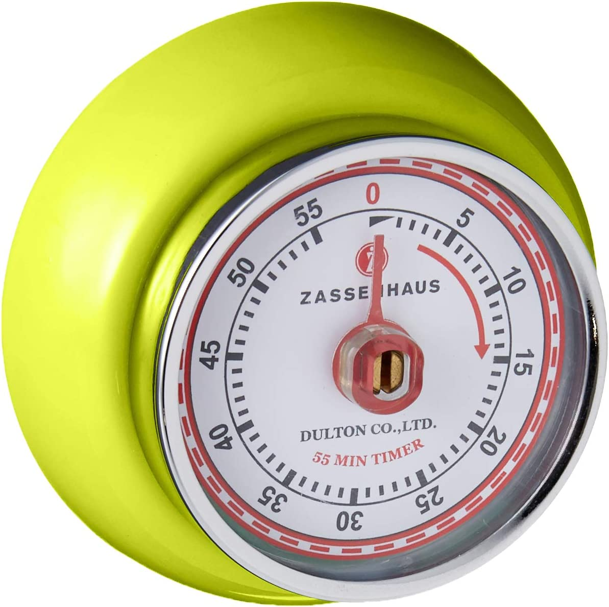 Zassenhaus Magnetic Retro 60 Minute Kitchen Timer, 2.75-Inch, Kiwi Green