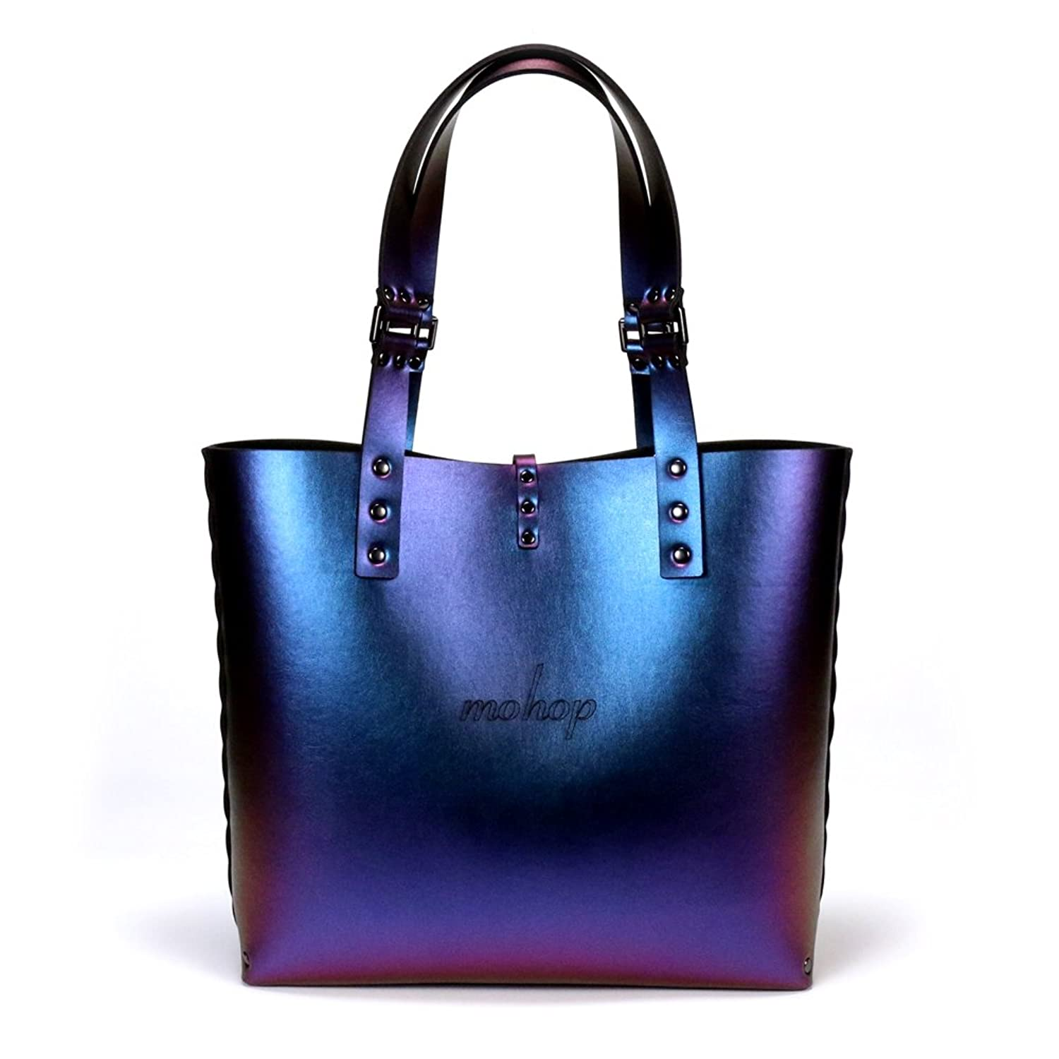 cobalt iridescent tote bag blue to purple tote vegan made in cobalt iridescent tote bag blue to purple tote vegan made in usa handbags amazon com