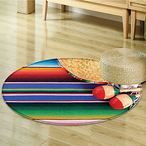 Non Slip Round Rugs Mexican with Sro Straw Hat Maracas Serape Blanket Rug Green Blue Red Oriental Floor and Carpets-Round 35