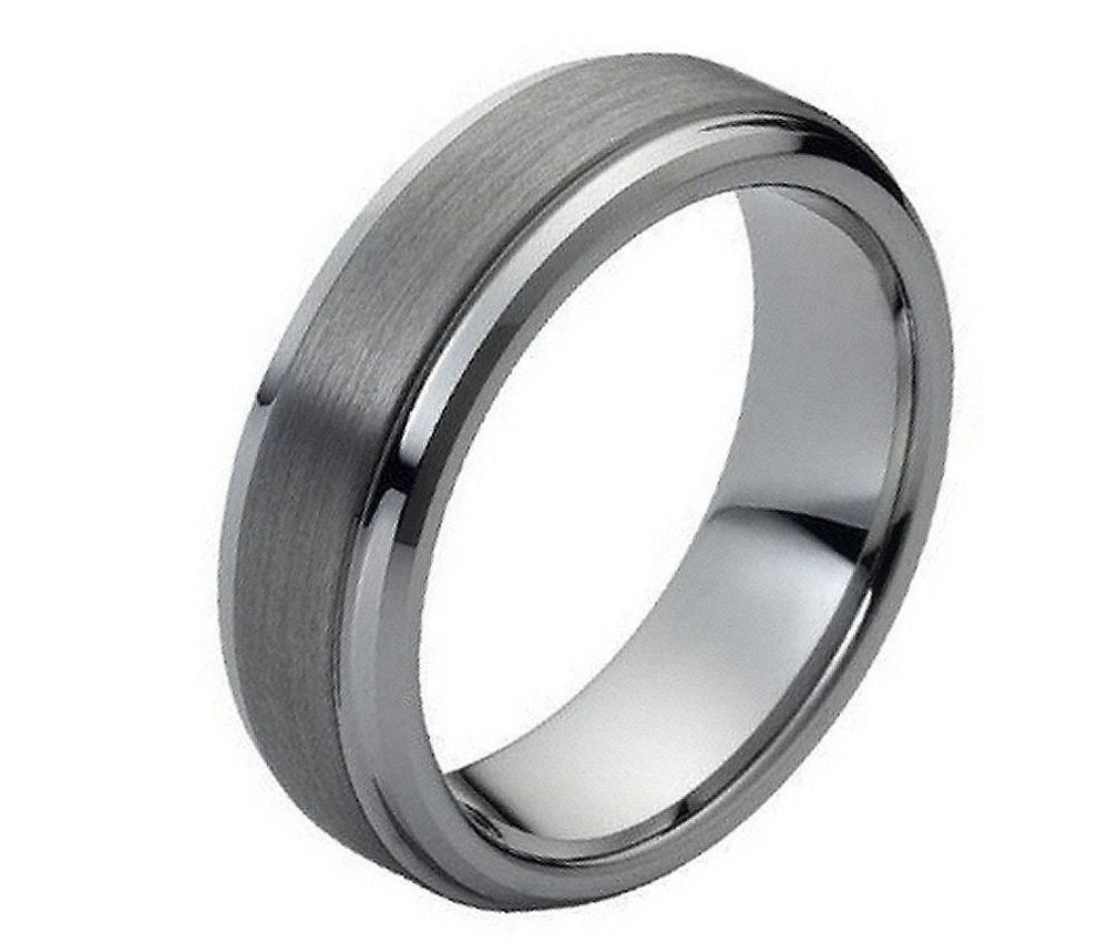 7mm Tungsten Carbide Shiny beveled Edge Brushed raised Center Wedding Band Ring For Men Or Ladies