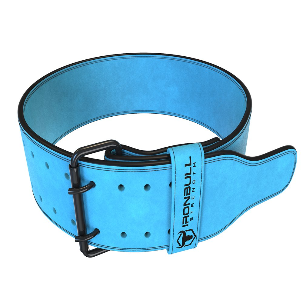 Iron Bull Strength Powerlifting Belt - 10mm Double Prong - 4-inch Wide - Heavy Duty for Extreme Weight Lifting Belt (Blue, Small)