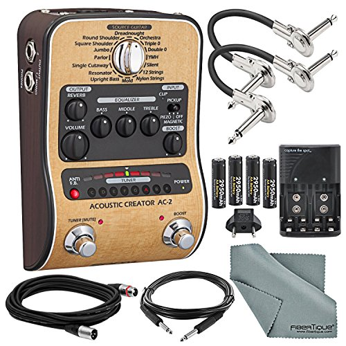 Zoom AC-2 Acoustic Guitar Effect Pedal and Accessory Bundle with Cables + Spare Batteries & Charger + Fibertique Cloth