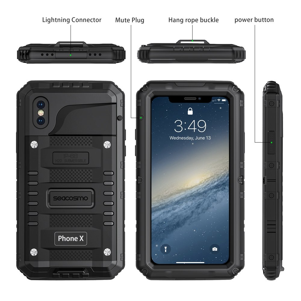 seacosmo Impermeable Funda para iPhone X/XS, [Rugged Armour] Carcasa con Protector de Pantalla Protección Completa del Cuerpo Parachoque Anti-Arañazos ...