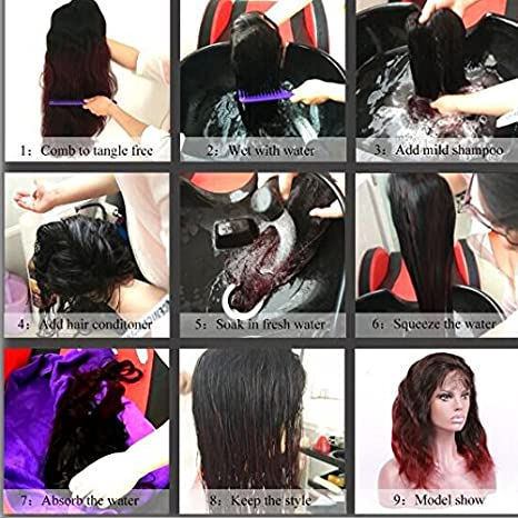 Lordhair Womens Wigs 100% Indian Human Hair Silky Straight Gluless Lace Front Wig Color #1B 18 Inches Wigs: Amazon.es: Belleza