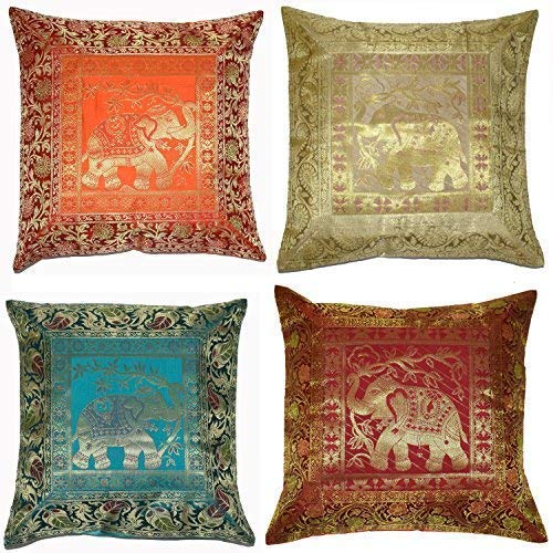 ANJANIYA Set of 4 16x16 inch (40x40 cm) Elephant Banarsi Silk Indian Ethnic Bohemian Decorative Cushion Cover Handcrafted Patchwork Sari Throw Pillow Boho Decor Cushion Covers for Gift (Silk Elephant)