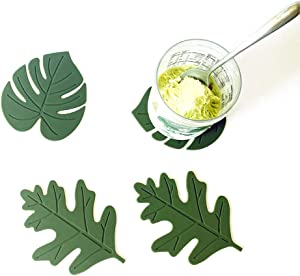 Papermore Cup Mat Silicone Rubber Coaster for Wine, Glass, Tea- Best Housewarming Beverage, Drink, Beer- Home House Kitchen Decor - Wedding Registry Gift Idea(Set of 4) (Monstera&Oak leaf)