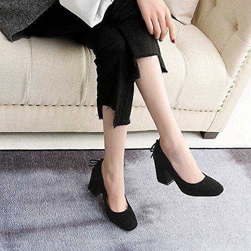 la tacón grandes la de zapatos de zapatos primavera con Los de cómodos luz sola mujer black zapatos en A4Wtxzw4Fq