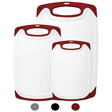 HOMWE Kitchen Cutting Board (3-Piece Set) | Juice Grooves w/Easy-Grip Handles | BPA-Free, Non-Porous, Dishwasher Safe | Multiple Sizes (Set of Three, Red)
