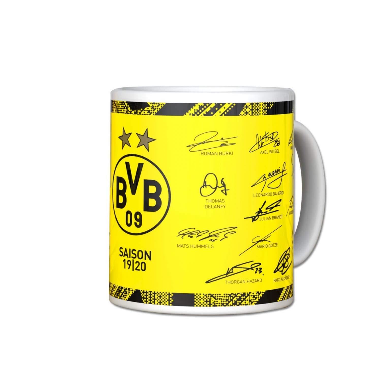 Plus Lesezeichen I Love Dortmund Borussia Dortmund Tasse Unterschriften 2019//20 Kaffeetasse Mug BVB 09