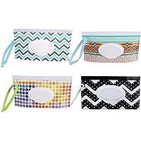 Paquete de 4 bolsas portátiles para toallitas de bebé, reutilizables, dispensadores de toallitas húmedas, ligeras…