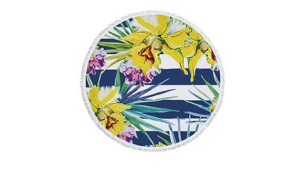 BESTSOON Toallas de Playa de Microfibra para Viajar Toalla de Playa Redonda Planta Verde Microfibra y Borla Impresa Toalla de baño círculo Alfombra de ...