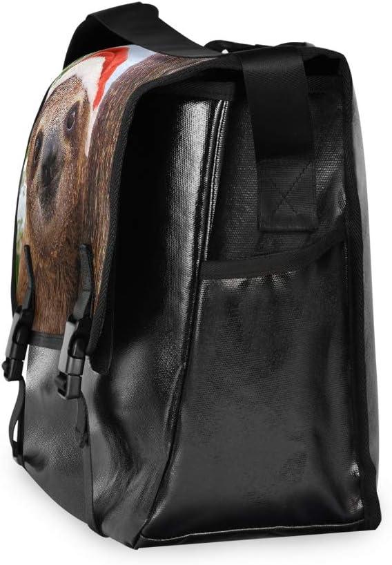 Shoulder Bag for Men Women Student Traveling Camping Sweet Messenger Bag Sloth Santa Hat Christmas Laptop Computer Casual Canvas Satchel