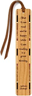 product image for Personalized Reading & Happiness Quote by Anthony Trollope, Engraved Wooden Bookmark with Suede Tassel - Search B011VWPV4A for Non-Personalized Version
