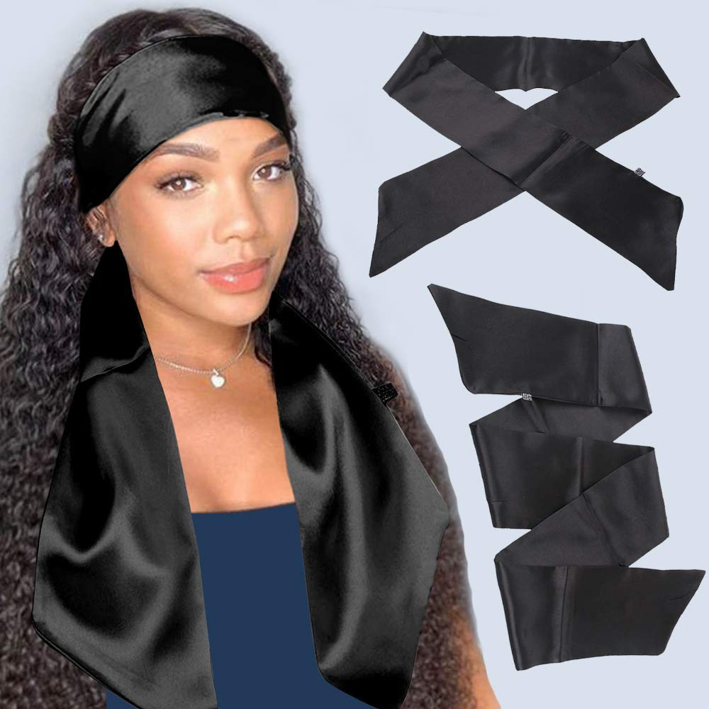 Xtrend 2Pcs Women's Satin Edge Scarves for Hair Laying Scarf for Lace Front Wig Non Slip Hair Wrap Wigs Grip Band for Yoga, Makeup, Facial, Sport (2 pcs, Black#)