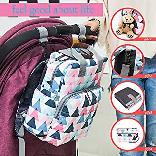 Waterproof Diaper Bag Backpack,Large Capacity Baby Changing Bag for Mom, Multifunctional Nappy Backpack with Changing Pad, Stroller Straps and a toy bear (pink)