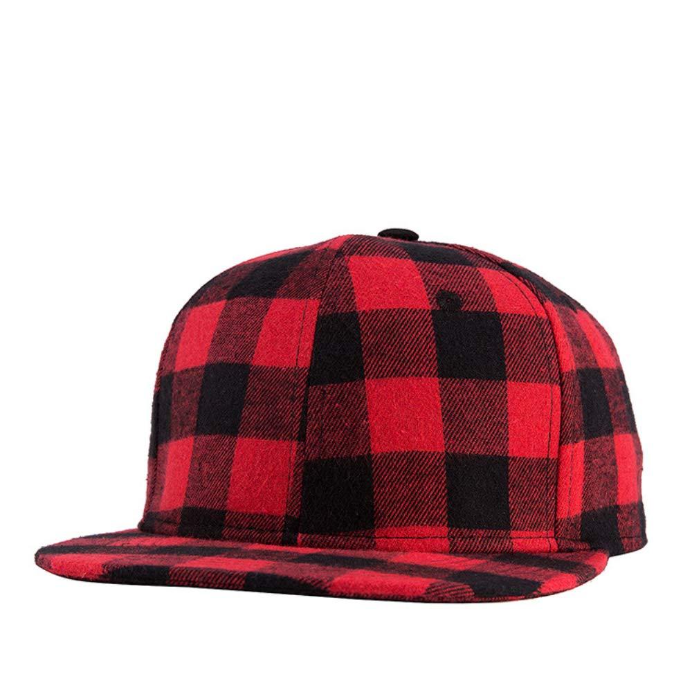 NBKLS Gorras Planas de Hip Hop algodón Negro Rojo Plaid Gorras de ...
