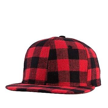 NBKLS Gorras Planas de Hip Hop algodón Negro Rojo Plaid Gorras de béisbol Planas para Hombres
