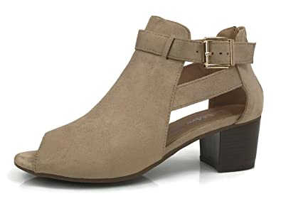 Women's Ankle Bootie Cut Out Sides Buckle Straps Mid Block Stacked Heel