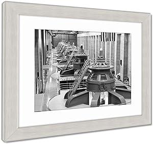 Ashley Framed Prints Hoover Dam Turbines, Wall Art Home Decoration, Black/White, 34x40 (Frame Size), Silver Frame, AG5661226
