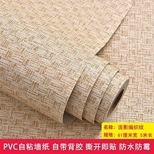 Weaving Video - Jedfild Thick Wall Paper self-Adhesive PVC Scrim Waterproof 3D Solid Wall Dormitory Bedroom Wallpaper Furniture Renovated Sticker, Stream Video Weaving Pattern Width 61 cm/5 m, Maximum