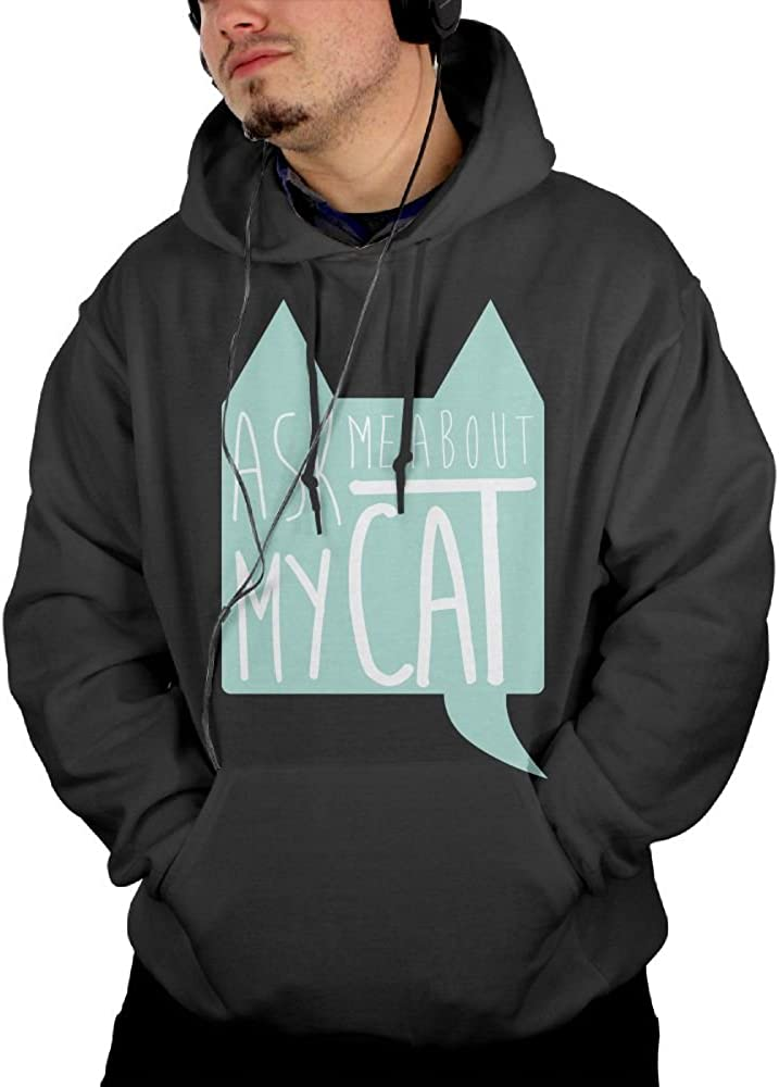 JIN YONG Ask Me About My Cats Men Cotton Long Sleeved Pullover Fashion Hoodies Hooded Sweatshirt Graphic Hoodie