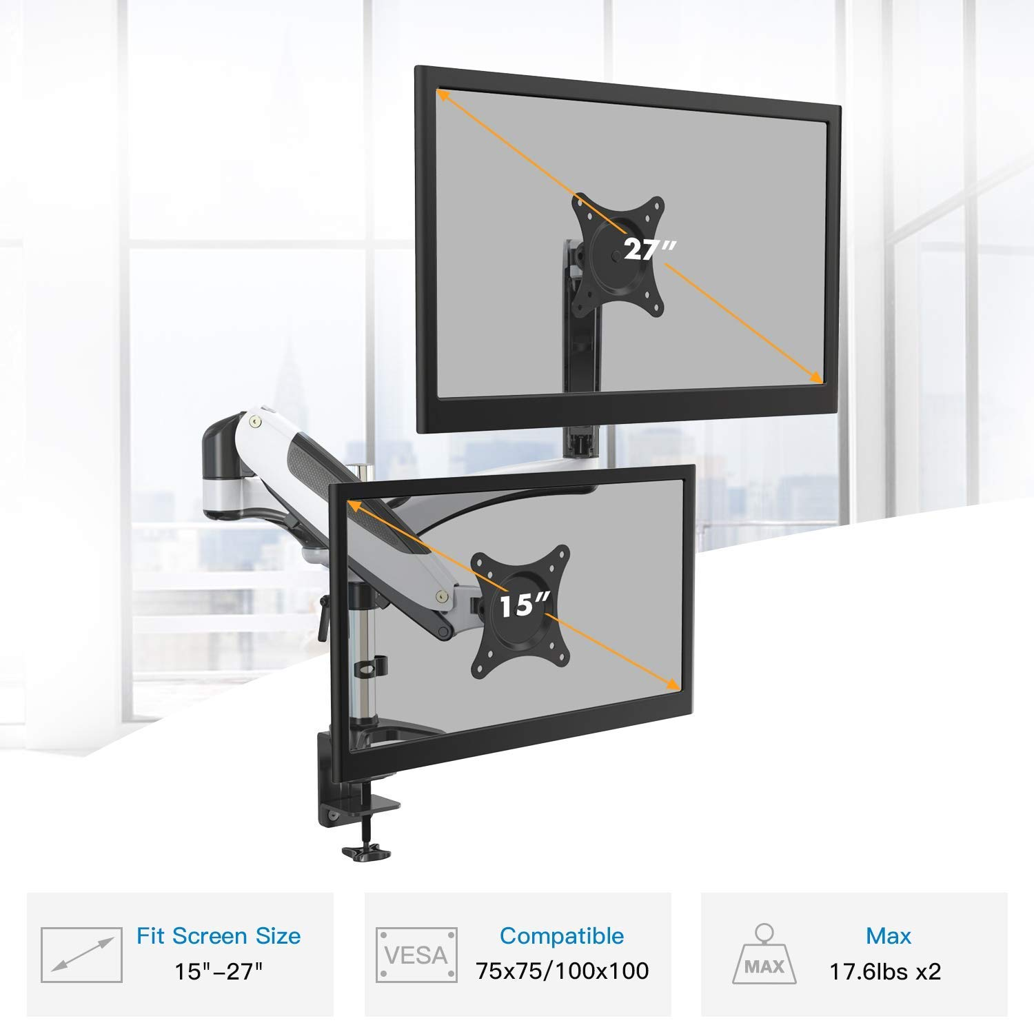 HUANUO Dual Monitor Mount, Increase Productivity & Prevent Neck/Shoulder Pain! Computer Arm Improves Body Posture, Monitor Arm Reduces Screen Glare! Clutter-Free Desk, Premium Computer Monitor Stand!