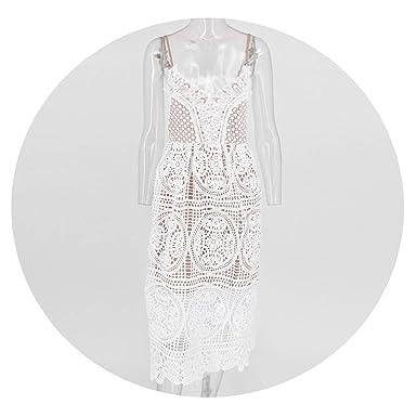 Amazoncom Strap Vintage White Lace Dress Women Overlay V