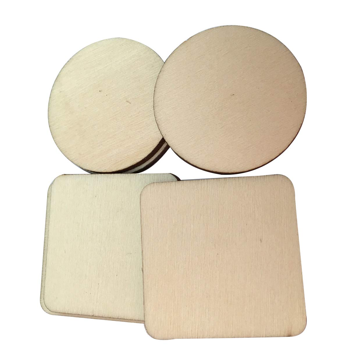 SUPVOX 100 Pcs DIY Blank Round Wood Slices and Square Unfinished Wooden Christmas Craft Embellishments for Home Party Wedding Decor