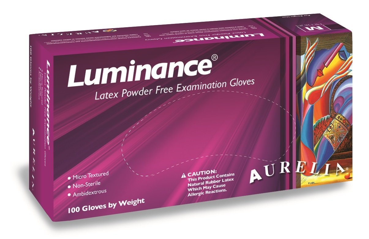 Aurelia Luminance Latex Glove, Powder Free, 9.4'' Length, 5 mils Thick, Large (Pack of 1000) by Aurelia