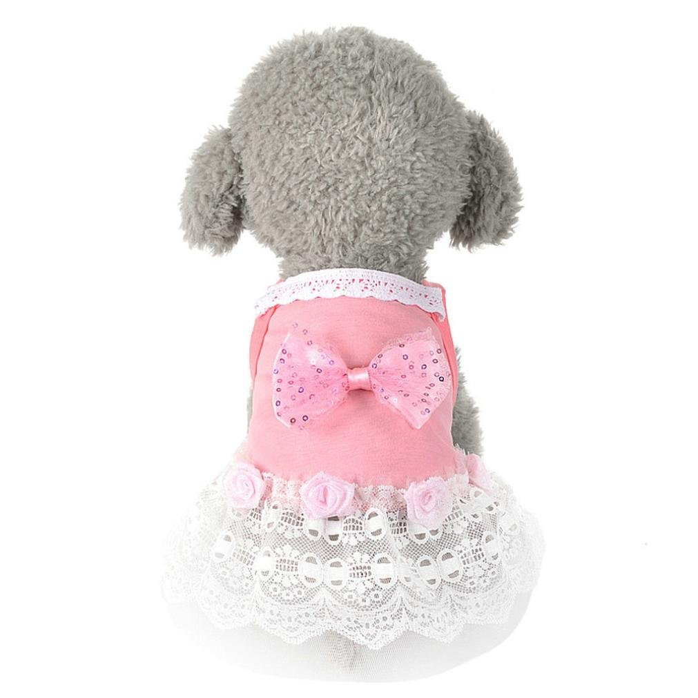 Howstar Puppy Clothes, Cute Doggie Dress for Small Dog Stripe Princess Dress Bow Lace Skirt (❤️B, XL)