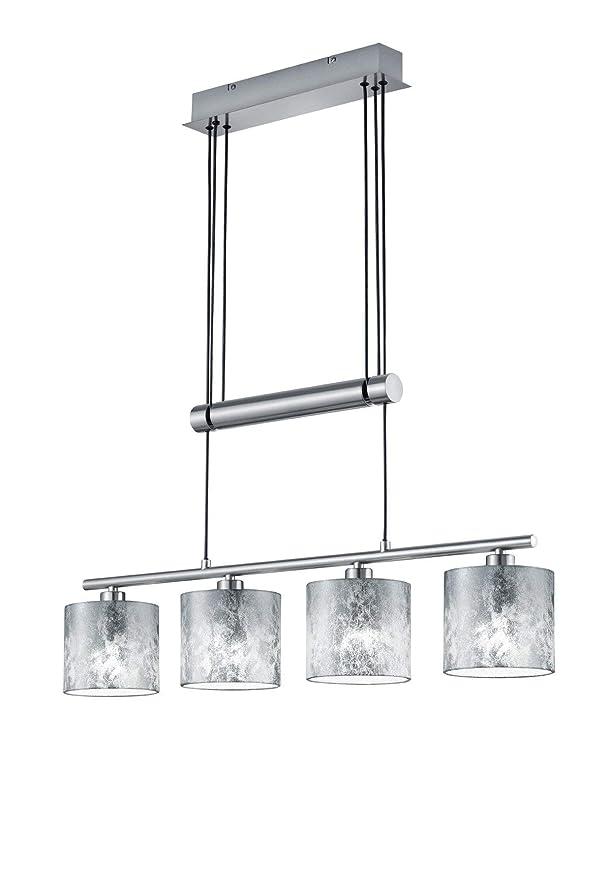 Trio Leuchten Jojo Pendelleuchte Garda, 305400489 Nickel matt, E14, Stoffschirm Silberfarbig, 13.5 x 77 x 150cm