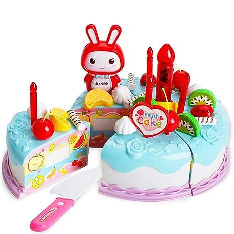 38pcs / Set Partido Cortar la torta de cumpleaños el juego de simulación Comida Fun Juguetes Set DIY Playset Niños Niñas Niños Habilidades Básicas de ...