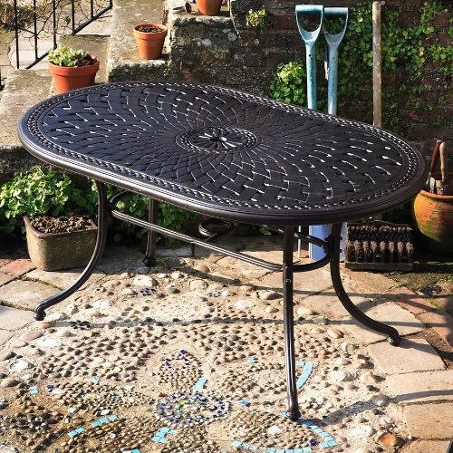 June 150 x 95cm Gartenmöbelset Aluminium - 1 JUNE Tisch + 4 MARY Stühle