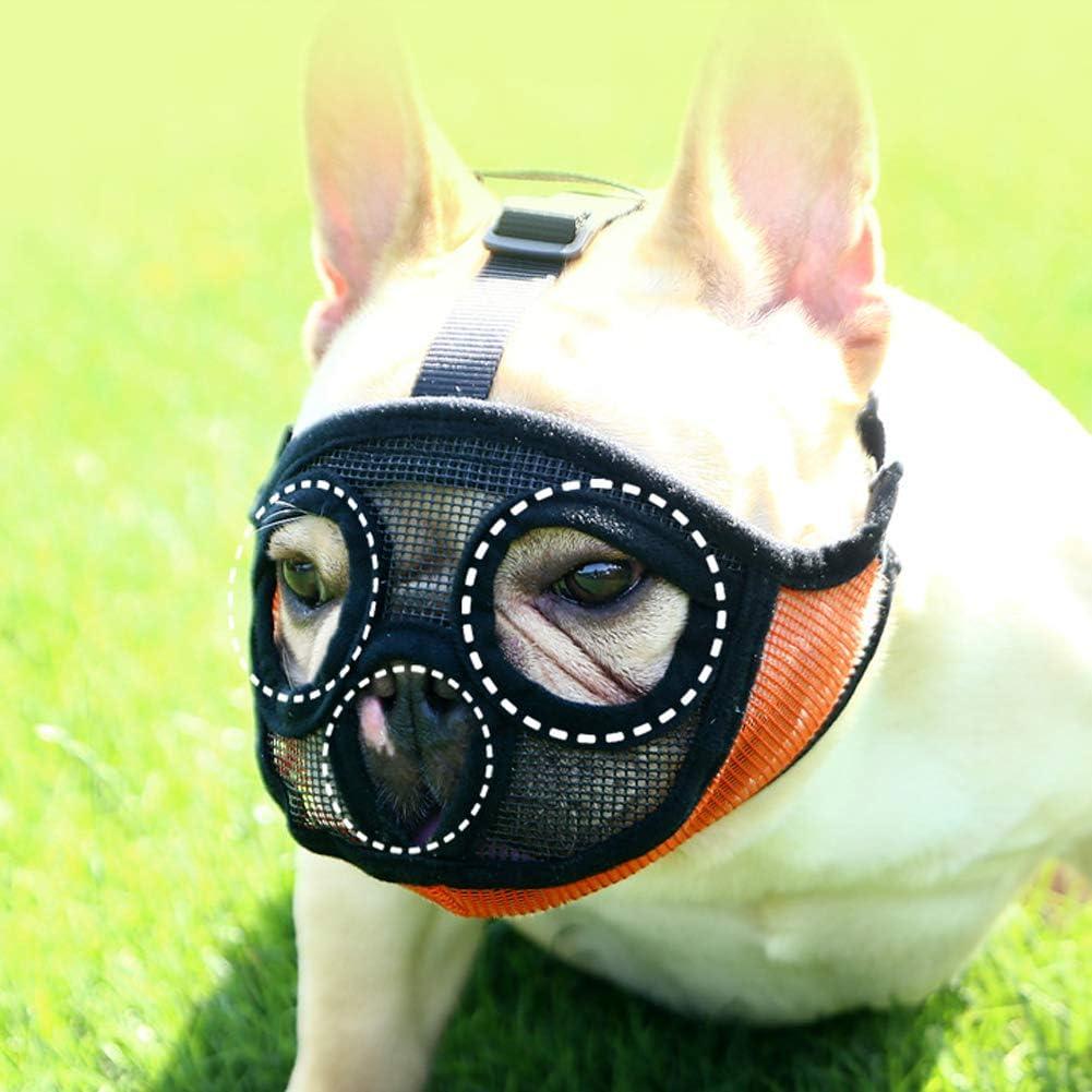 DELIFUR Bozal de Malla para Perro, bozal Corto para Perros y Mascotas, antimordidas, Boca, Boquilla, Boquilla, Cesta para Perro Bulldog y Sharpei