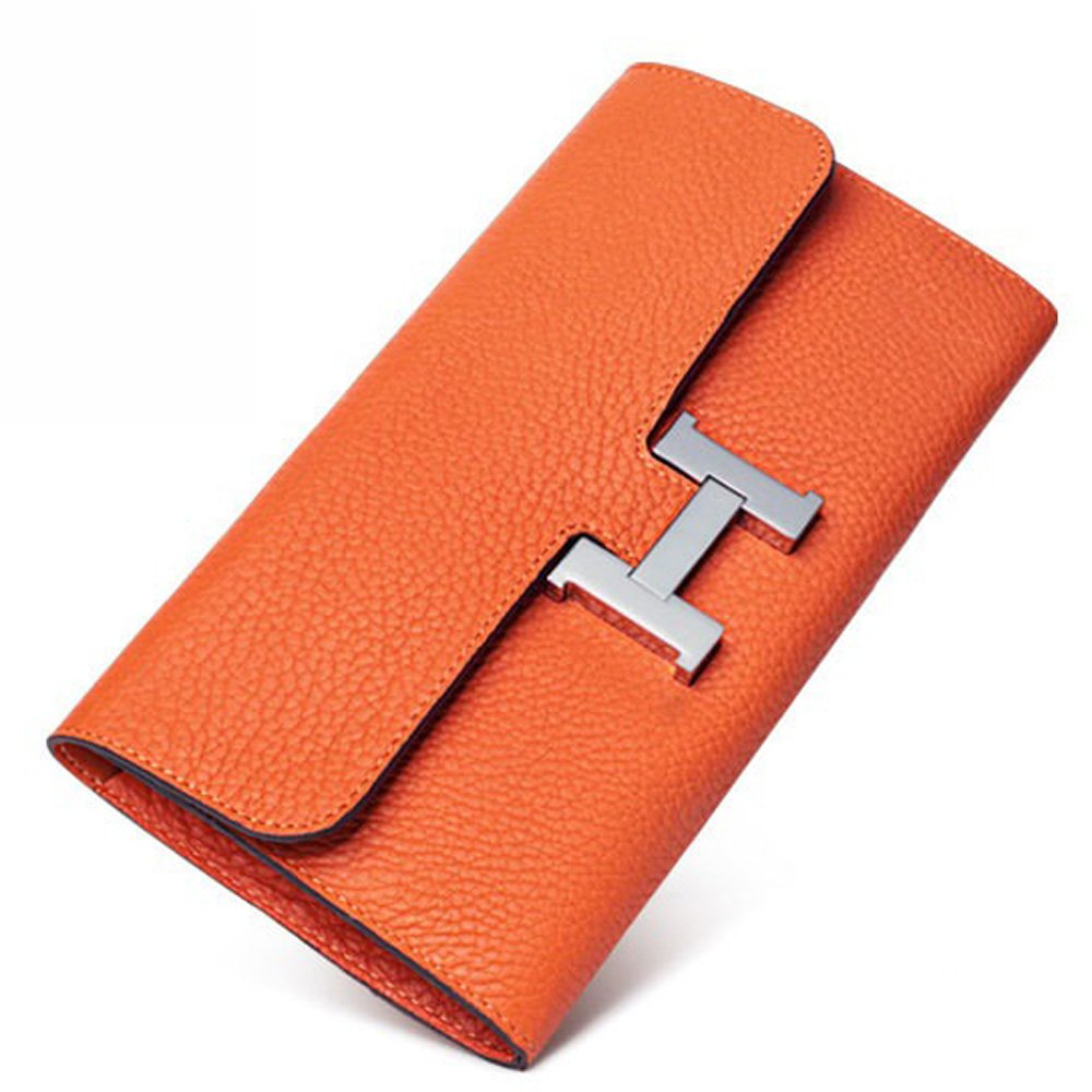 FBLUE New High -Capacity Women 's Long Wallet'' H'' Buckle Wallet Litchi Grain Leather Handbags FB022 (Orange) by FBLUE (Image #1)