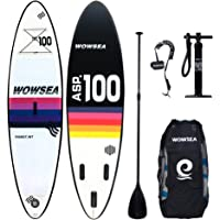 10' INFLATABLE STAND UP PADDLE BOARD - WOWSEA Including Carbon Paddle, Carry back pack, Removeable Travelfin, DualAction Pump, Coilankle leash, Repair Kit, for Fishing, Surfing, Yoga