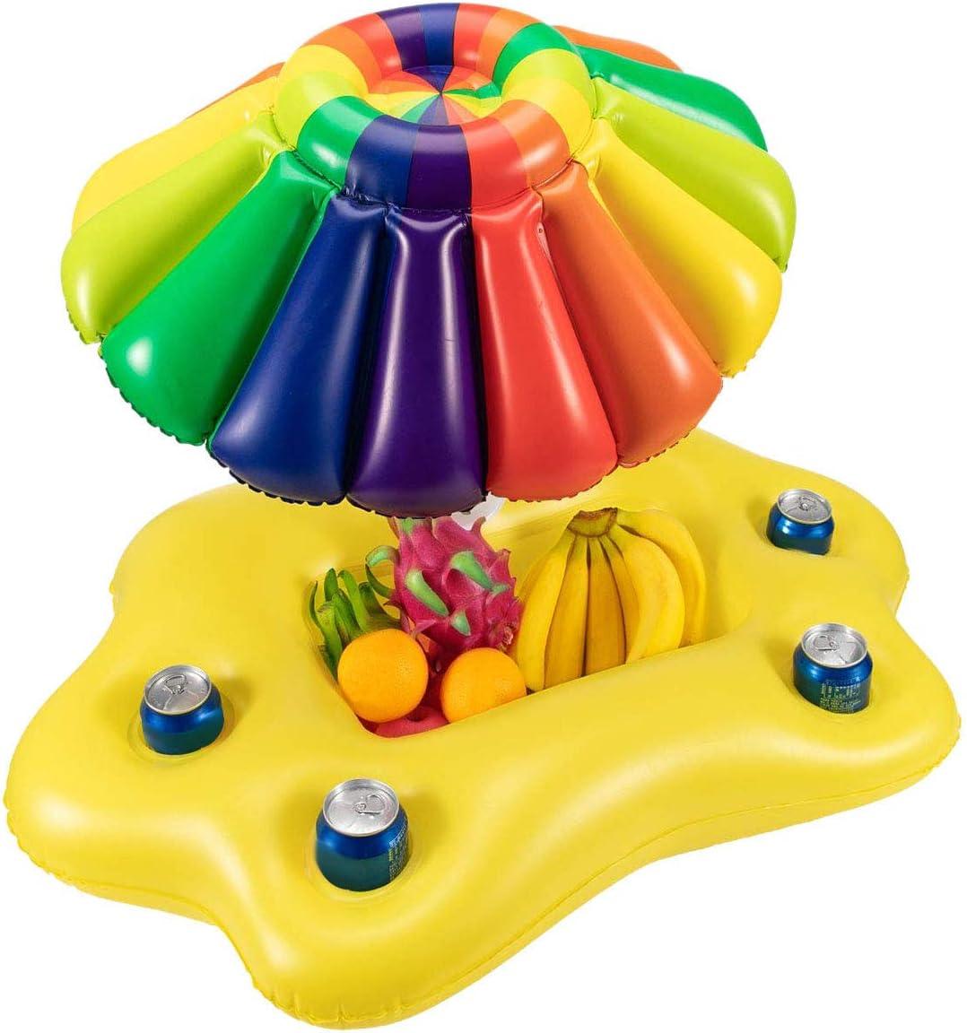 ACAMPTAR Summer Piscina Inflable Soporte para Vasos Fiesta Barra De Hielo Piscina Flotador Cerveza Enfriador De Bebidas PVC Bandeja Flotante Accesorios para Piscina De Playa - Vistoso