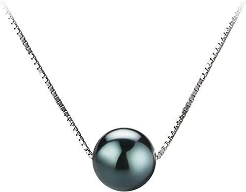 Tin Cup Black 7-8mm AAA Quality Japanese Akoya 14K White Gold Cultured Pearl Necklace For Women