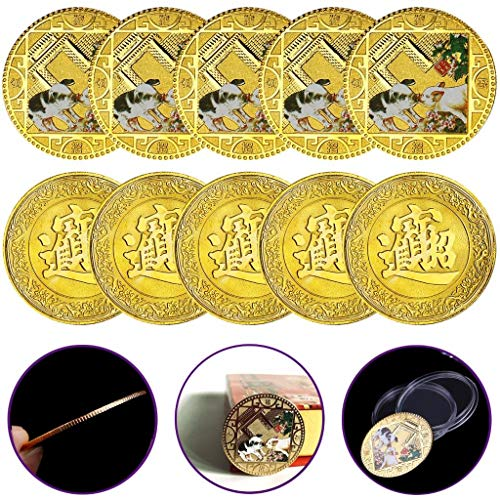 PartyYeah 10Pack 2019 Pig Year Commemorative Coin Gilding Present Souvenir New Year Craft Gift Lucky Zodiac Gifts, Blessing Souvenir