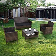 Premium Patio USA Patio Furniture Sets Clearance Conversation 4 Piece Waterproof Outdoors Wicker (Black)