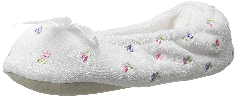 Isotoner Women's Embroidered Terry Ballerina Slipper Medium Women's Size 6.5 7.5 White