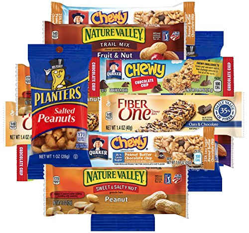 Bulk Snacks Care Package Bundle Assortment Sampler, Variety Pack of 1 lb, Nature Valley and Fiber One Granola Bars and Peanuts (Halloween Food For Adults)