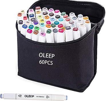 OLEEP 60 Colores Rotulador permanente de graffiti con doble punta, para dibujar bocetos de arte, pintar, colorear y subrayar: Amazon.es: Bricolaje y herramientas