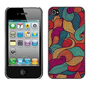 LASTONE PHONE CASE / Slim Protector Hard Shell Cover Case for Apple Iphone 4 / 4S / Art Painting Surf Waves Summer Sun