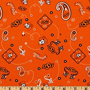 collegiate cotton broadcloth oklahoma state university bandana orange fabric by the yard. Black Bedroom Furniture Sets. Home Design Ideas