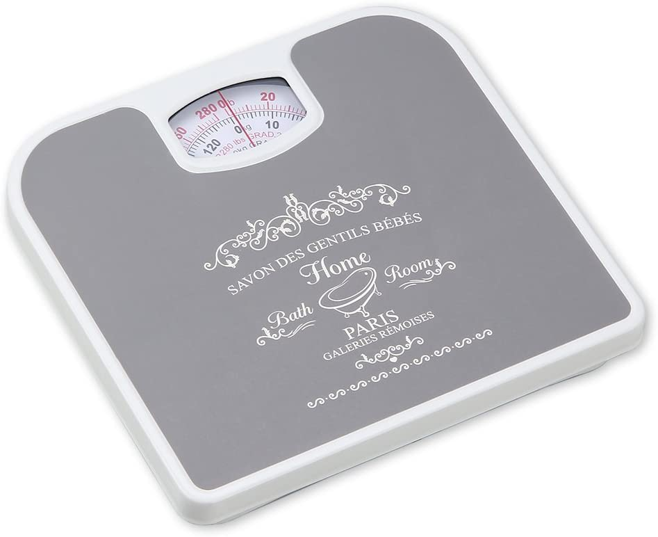 Home Basics Paris Inspired Bathroom, Mechanical Body Weighing Scale, Measures Upto 280 lbs, Grey
